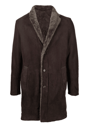Barba shearling-lined suede coat - Brown
