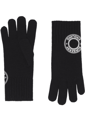 Burberry logo-patch knitted gloves - Black