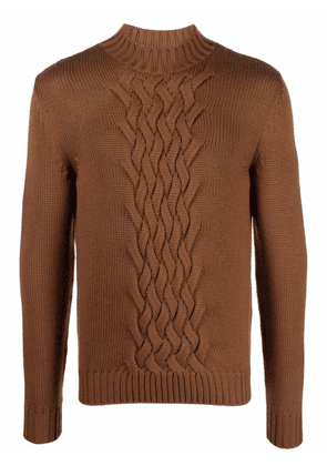 Eleventy cable-knit round neck jumper - Brown