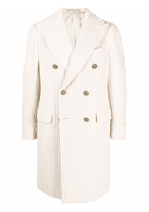 Eleventy double-breasted corduroy coat - Neutrals