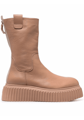 AGL chunky-soled tonal leather boots - Neutrals