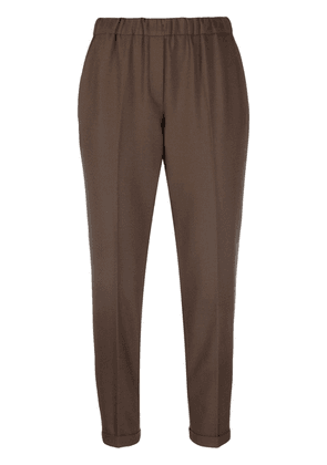 Antonelli slim-fit cropped trousers - Brown