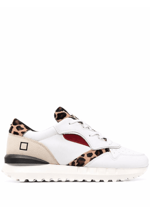 D.A.T.E. leopard-print panelled trainers - White