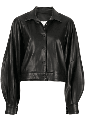 Alexis cropped faux-leather jacket - Black