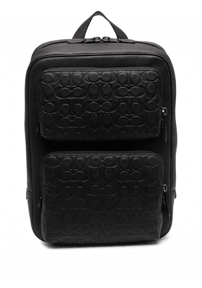 Coach logo-embossed leather backpack - Black