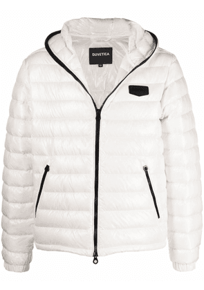 Duvetica logo-patch feather-down puffer jacket - White