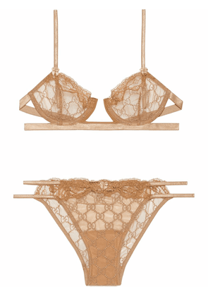 Gucci GG embroidered tulle lingerie set - Neutrals
