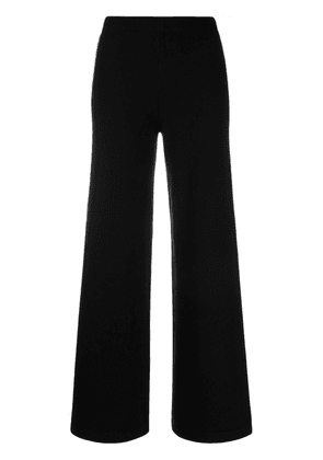 D.Exterior contrast-trim knitted flared trousers - Black