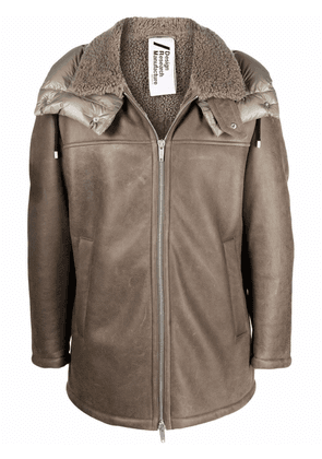 Drome shearling-lined leather jacket - Neutrals