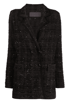 D.Exterior check-pattern double-breasted coat - Green