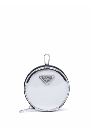 Prada brushed-leather round mini-pouch - Silver