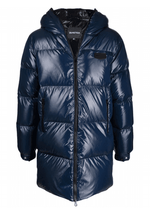 Duvetica logo-patch feather-down padded coat - Blue