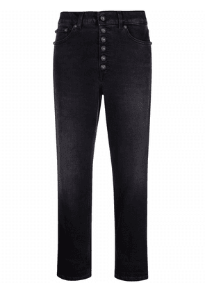 DONDUP button-fastening cropped trousers - Black