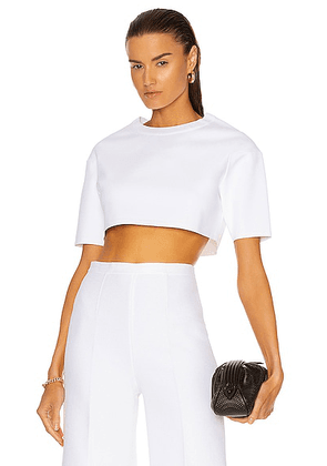 ALAÏA Viscose Short Sleeve Top in Blanc - White. Size 38 (also in 36, 40).