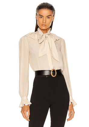 Saint Laurent Ruffle Top in Coquille - Neutral. Size 38 (also in 40).