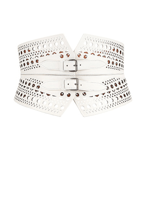 ALAÏA Double Buckle Belt in Blanc Optique - White. Size 80 (also in 85).