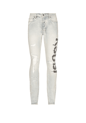 Ksubi Chitch Phase Out Stencil in Denim - Blue. Size 28 (also in 29, 31, 32, 33, 34, 36).