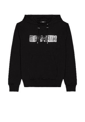 BALMAIN Silver Embossed Hoodie in Noir & Argent - Black. Size L (also in S, XL/1X).