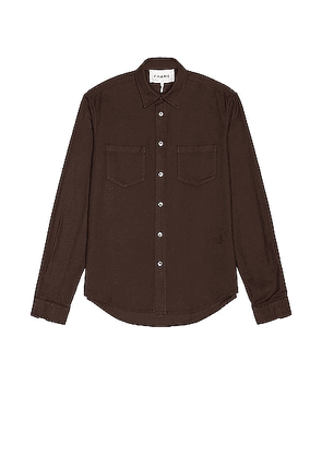 FRAME Double Pocket Brushed Flannel in Dark Chocolate - Brown. Size L (also in M, XL/1X).