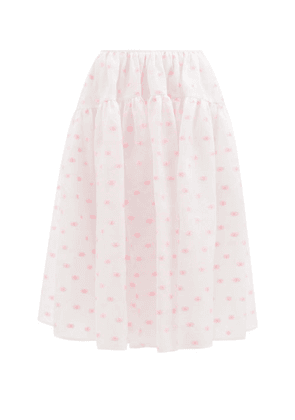 Cecilie Bahnsen - Rosie Tiered Floral-jacquard Midi Skirt - Womens - Pink Print