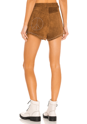 Understated Leather x REVOLVE Peace Shorts in Cognac. Size XS.