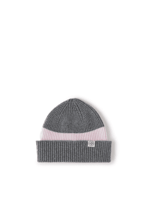 Mulberry Colour Block Knitted Beanie - Grey-Pink