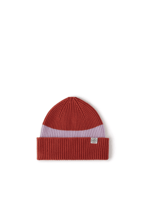 Mulberry Colour Block Knitted Beanie - Pumpkin-Icy Pink