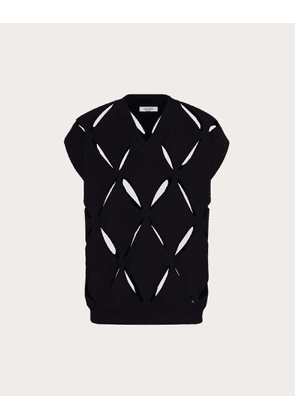 Valentino Uomo Knitted Viscose Vest With V-neckline And Embroidery Man Black 83% Viscose 17% Polyester XS