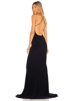 Norma Kamali X REVOLVE Low Back Slip Mermaid Fishtail Gown in Navy. Size M, S, XS.