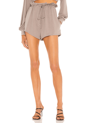 h:ours Georgi Paper Bag Shorts in Taupe. Size M, S, XL, XS.