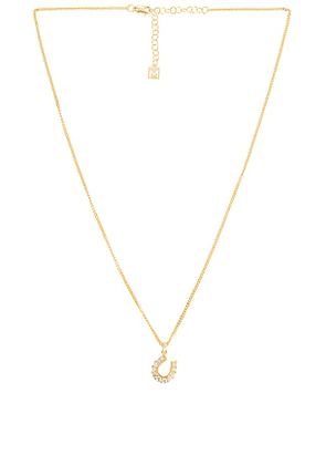 The M Jewelers NY Horseshoe Necklace in Metallic Gold.