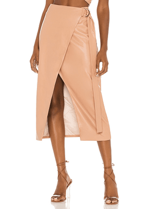 AMUR Faux Leather Wrap Skirt in Nude. Size 2, 6, 8.
