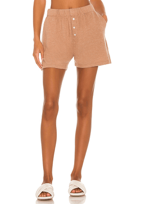 DONNI. Sweater Henley Short in Tan. Size XS, S, M.