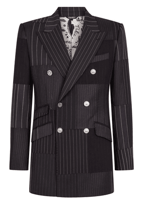 Dolce & Gabbana double-breasted patchwork suit jacket - Black