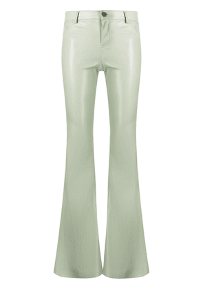 Alice+Olivia mid-rise faux leather flared trousers - Green