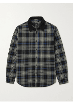Bellerose - Freeman Corduroy-Trimmed Quilted Checked Cotton-Blend Flannel Overshirt - Men - Gray - S