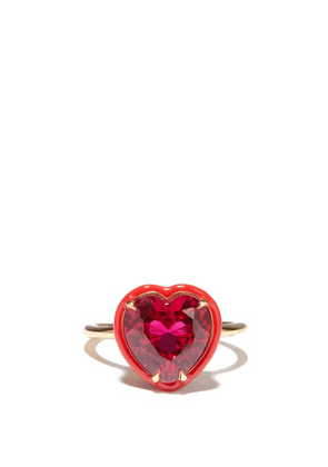 Alison Lou - Heart Cocktail Ruby & 14kt Gold Ring - Womens - Red Multi