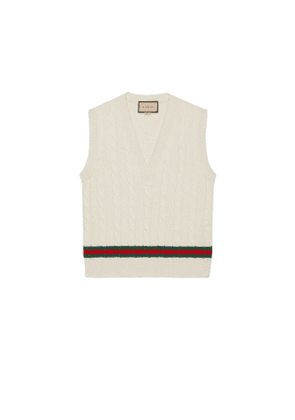 Cable knit vest with Web