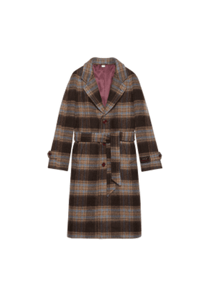 Check wool coat with Gucci label