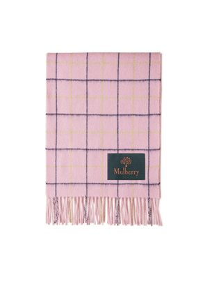 Mulberry Tri Colour Windowpane Check Lambswool Scarf - Lilac Blossom