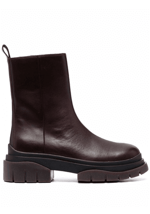 ASH zip-up leather boots - Red
