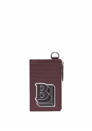 Burberry letter graphic card case lanyard - Red