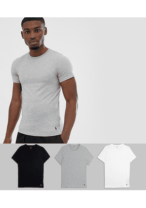 Polo Ralph Lauren 3 pack lounge t-shirts with player logo in black / white / grey-Multi