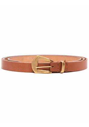 Federico Curradi leather textured buckle belt - Brown