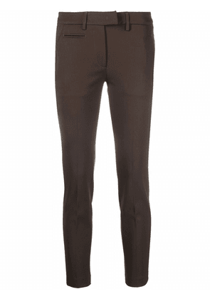 DONDUP cropped slim fit trousers - Brown
