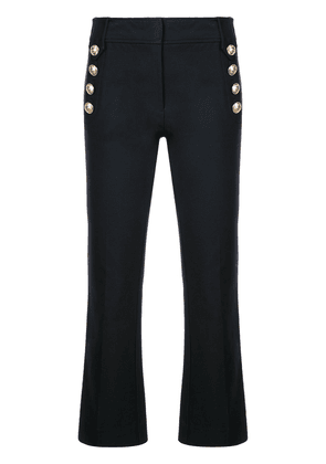 Derek Lam 10 Crosby Robertson Cropped Flare Trouser with Sailor Buttons - Blue