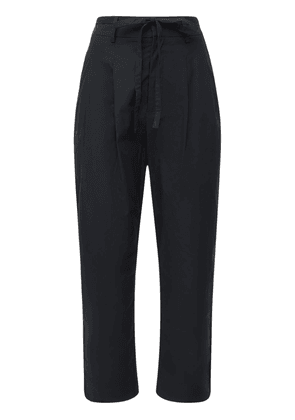 Pleated Stretch Cotton Crop Pants