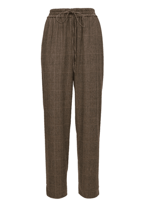 Check Wool Blend Straight Pants