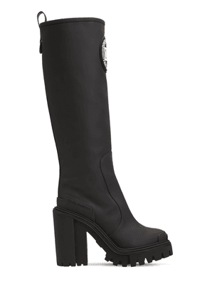 90mm Rubberized Faux Leather Tall Boots
