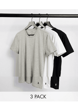 Polo Ralph Lauren 3 pack lounge t-shirts in black/grey/white with logo
